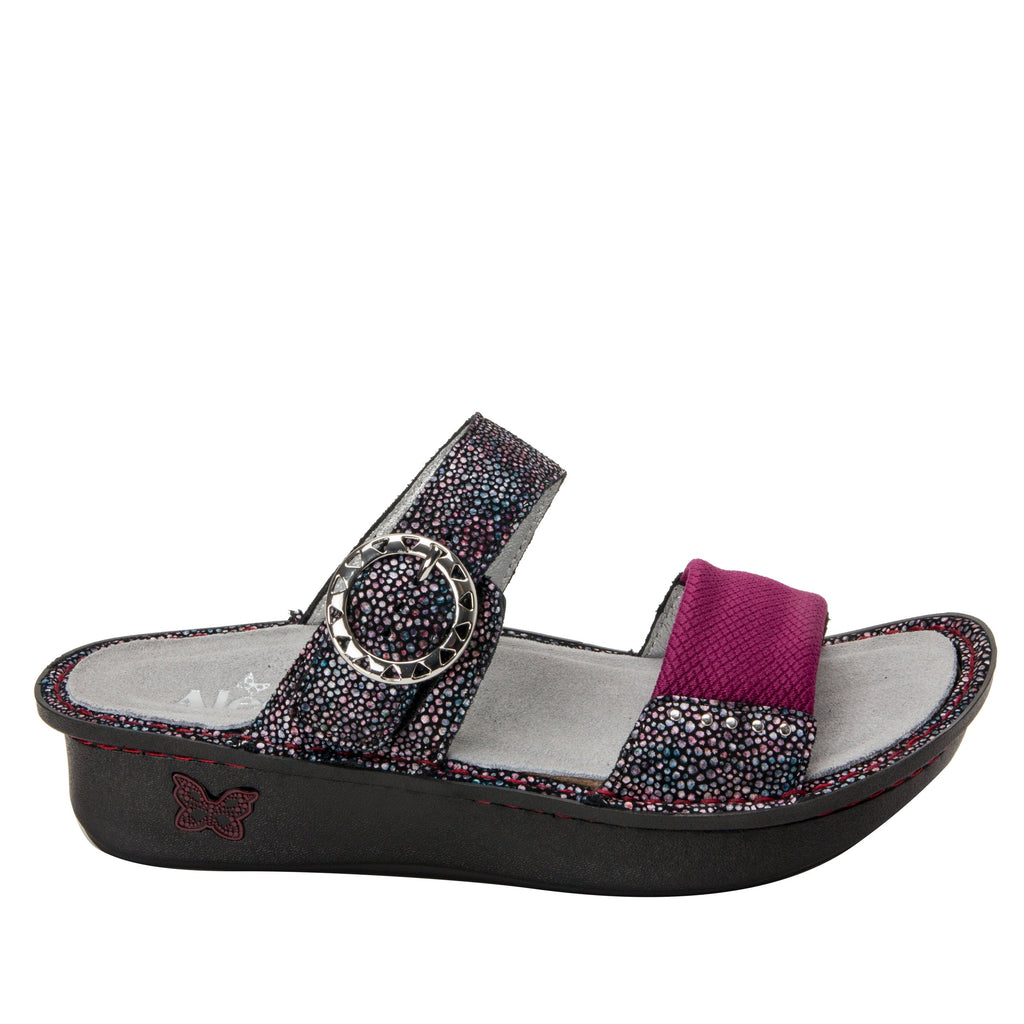 Keara Plum Multi Slide Sandal with accomodating neoprene panel and hook and loop closure on Classic rocker outsole - KEA-935_S2