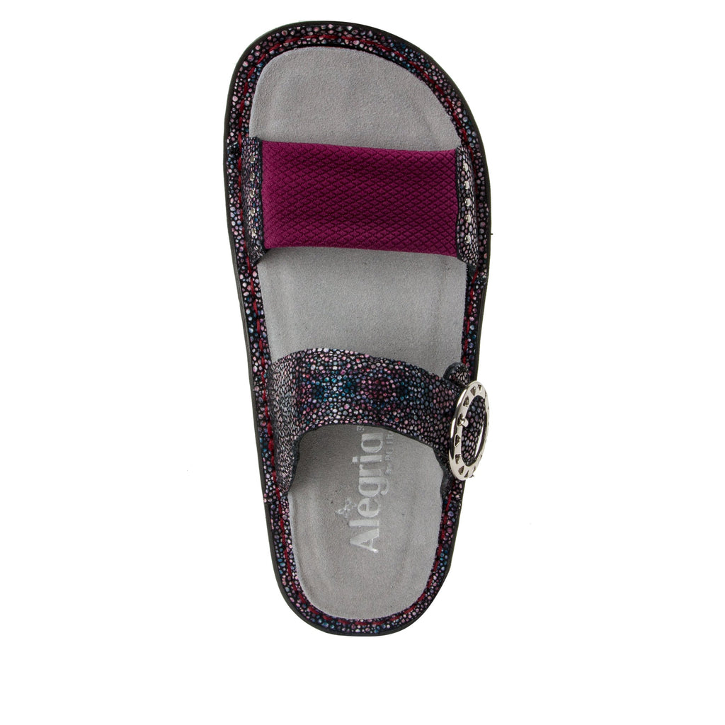 Keara Plum Multi Slide Sandal with accomodating neoprene panel and hook and loop closure on Classic rocker outsole - KEA-935_S4 (1938780979254)
