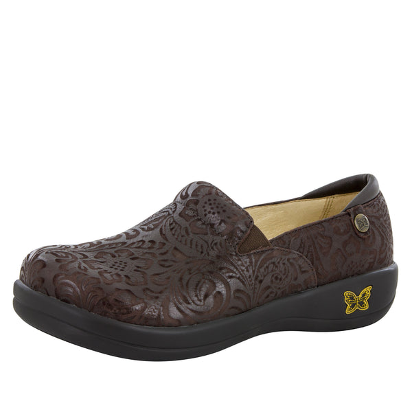 Keli Choco Embossed Paisley Professional Shoe - Alegria Shoes - 1