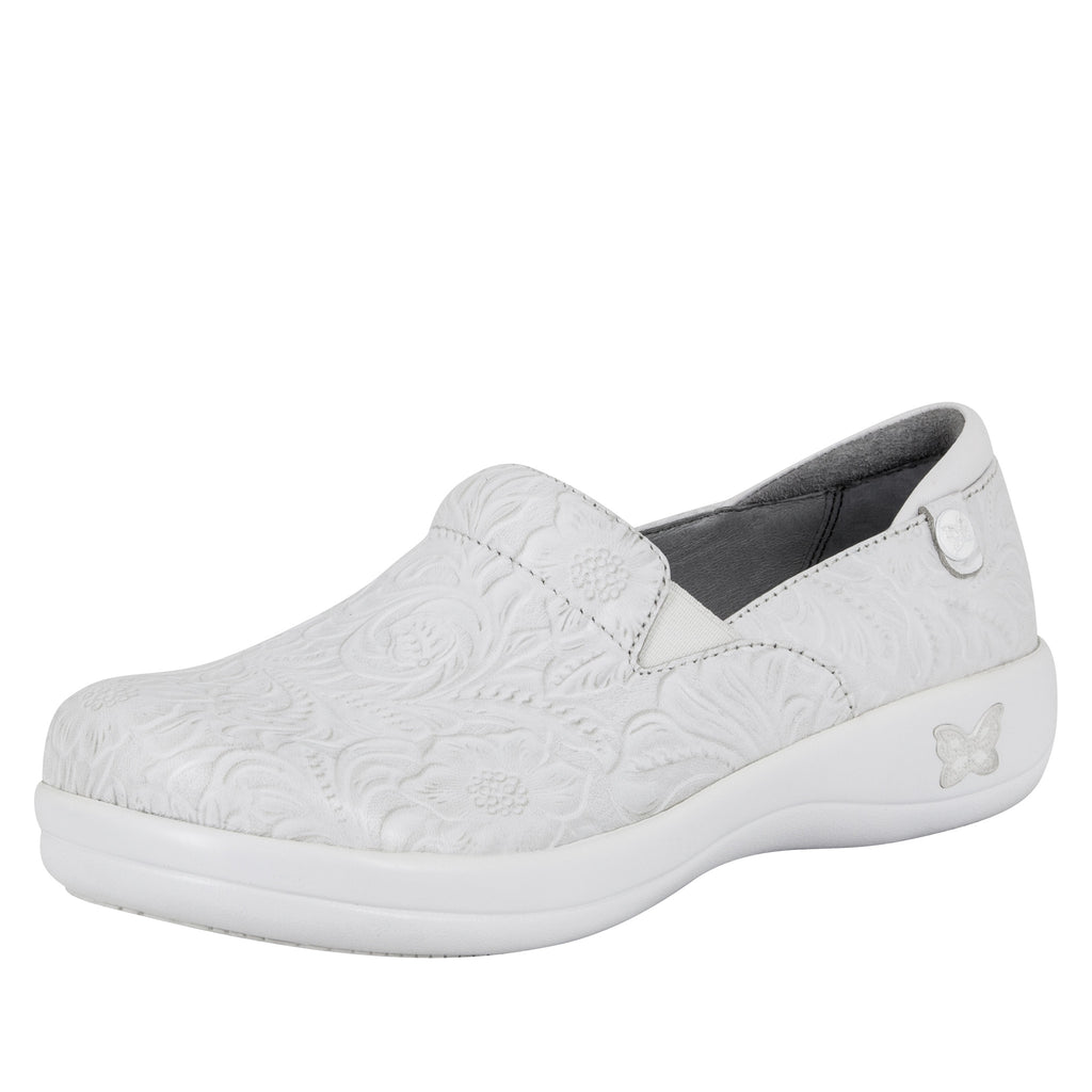 Keli White Tooled Professional Shoe - Alegria Shoes - 1 (8479773773)