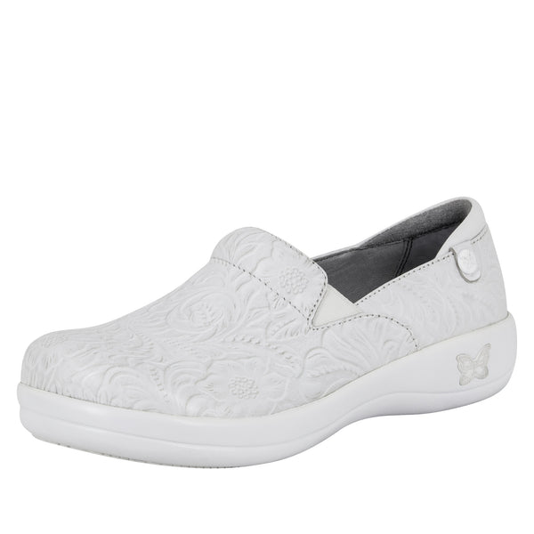Keli White Tooled Professional Shoe - Alegria Shoes - 1