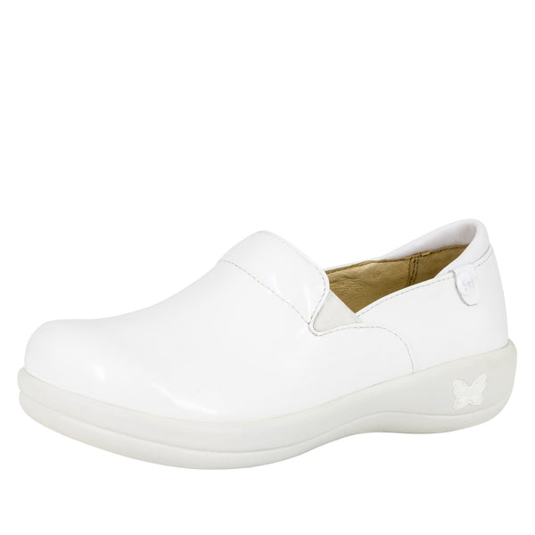 Keli White Waxy Professional Shoe - Alegria Shoes - 1