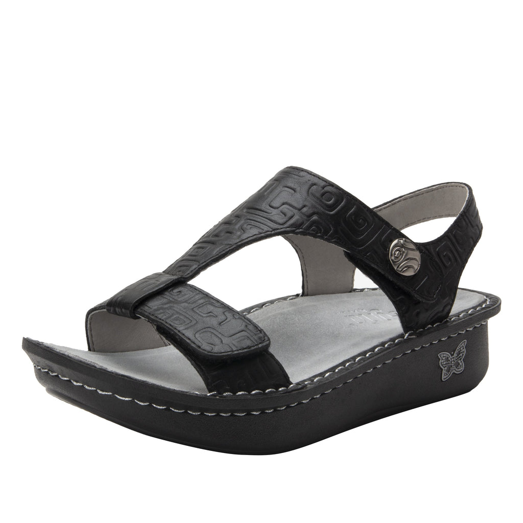 Kerri Amazing Black  t-strap sandal on classic rocker outsole - KER-7746_S1