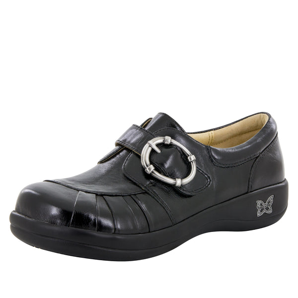 Khloe Black Waxy Professional Shoe - Alegria Shoes - 1