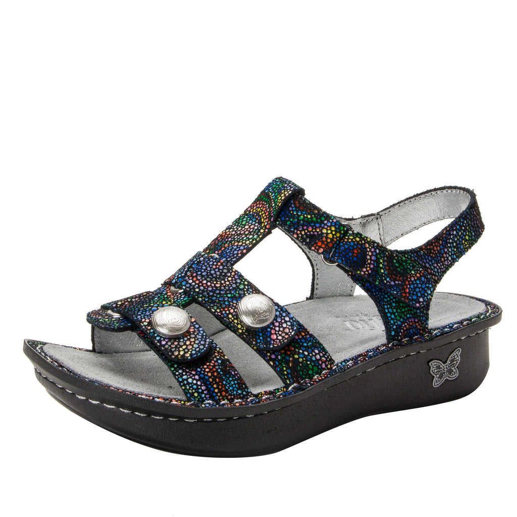 Kleo Rainbow Cyclone Gladiator Sandal with three hook and loop closure on Classic rocker outsole - KLE-493_S1 (1949274406966)