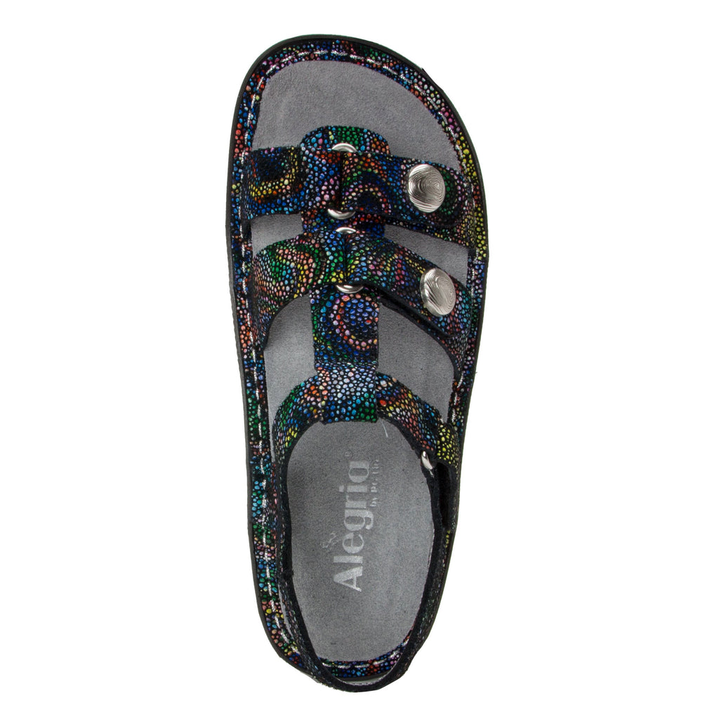 Kleo Rainbow Cyclone Gladiator Sandal with three hook and loop closure on Classic rocker outsole - KLE-493_S4 (1949274406966)