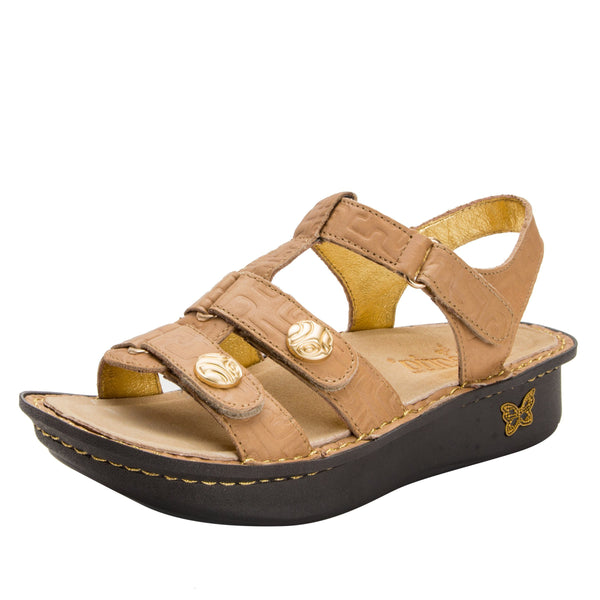 Kleo Basically Amazing Gladiator Sandal with three hook and loop closure on Classic rocker outsole - KLE-876_S1