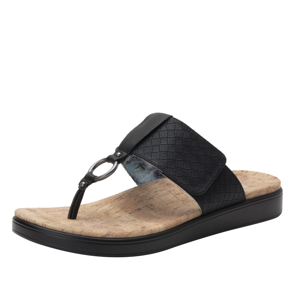 Lanie Black Comfort Flat thong sandal with adjustable hook and loop closure and featherweight slip-resistance - LAN-601_S1