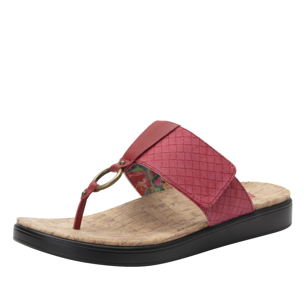 Lanie Red Comfort Flat thong sandal with adjustable hook and loop closure and featherweight slip-resistance - LAN-623_S1