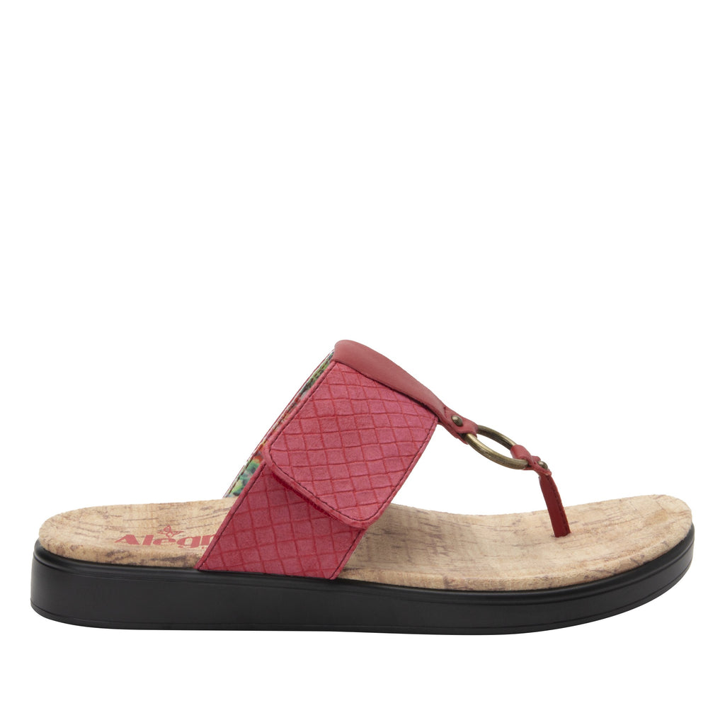 Lanie Red Comfort Flat thong sandal with adjustable hook and loop closure and featherweight slip-resistance - LAN-623_S2