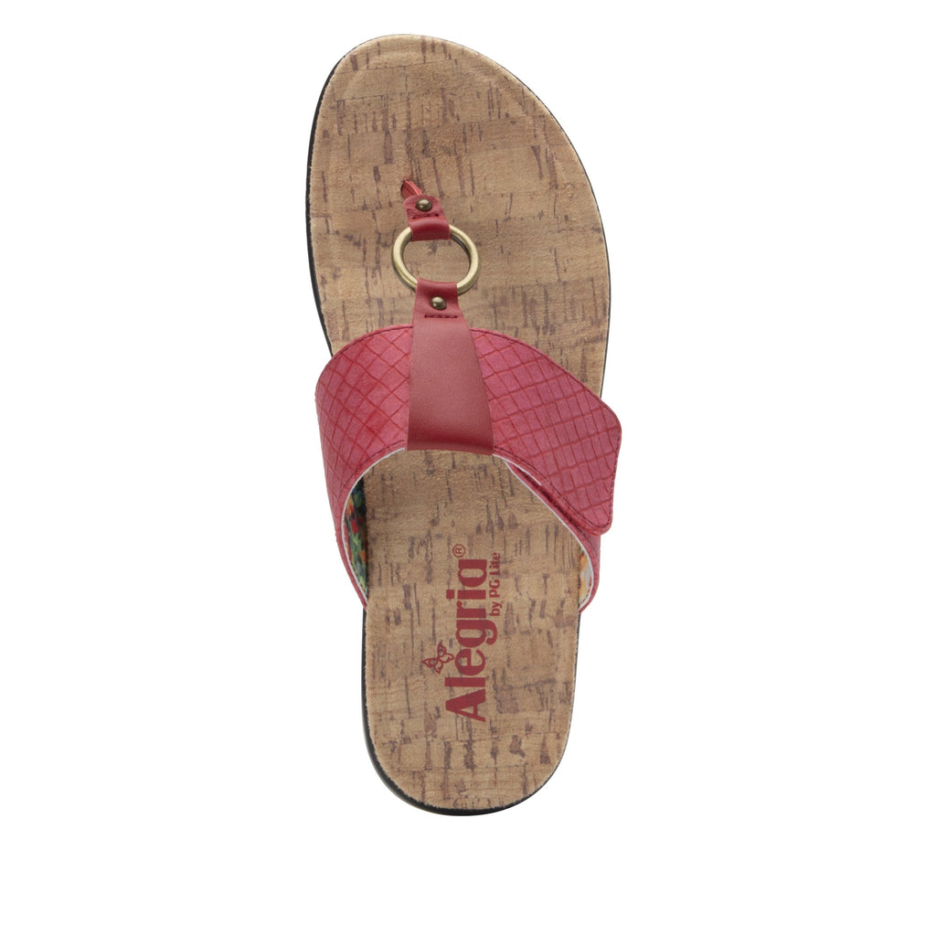 Lanie Red Comfort Flat thong sandal with adjustable hook and loop closure and featherweight slip-resistance - LAN-623_S4
