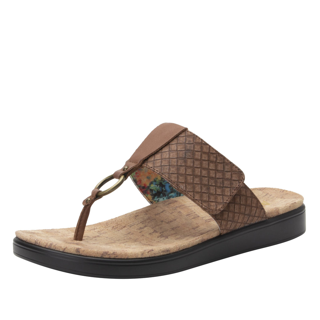 Lanie Tawny Comfort Flat thong sandal with adjustable hook and loop closure and featherweight slip-resistance - LAN-644_S1