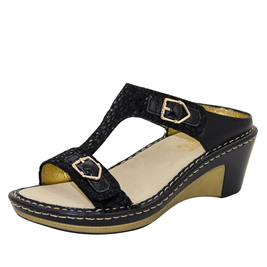 Lara Tile Me More Black t-strap wedge sandal - LAR-765X_S1