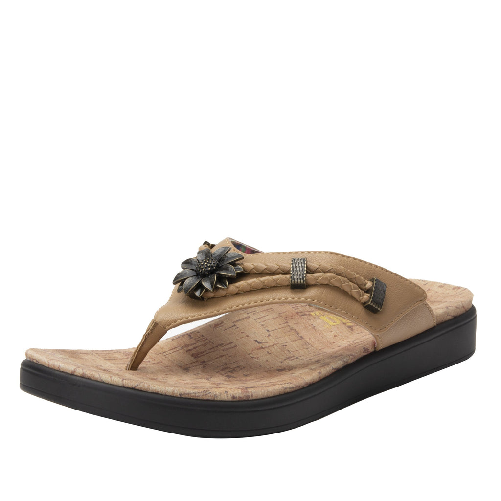 Layah Tan Comfort Flat thong sandal with adjustable hook and loop closure and featherweight slip-resistance - LAY-462_S1