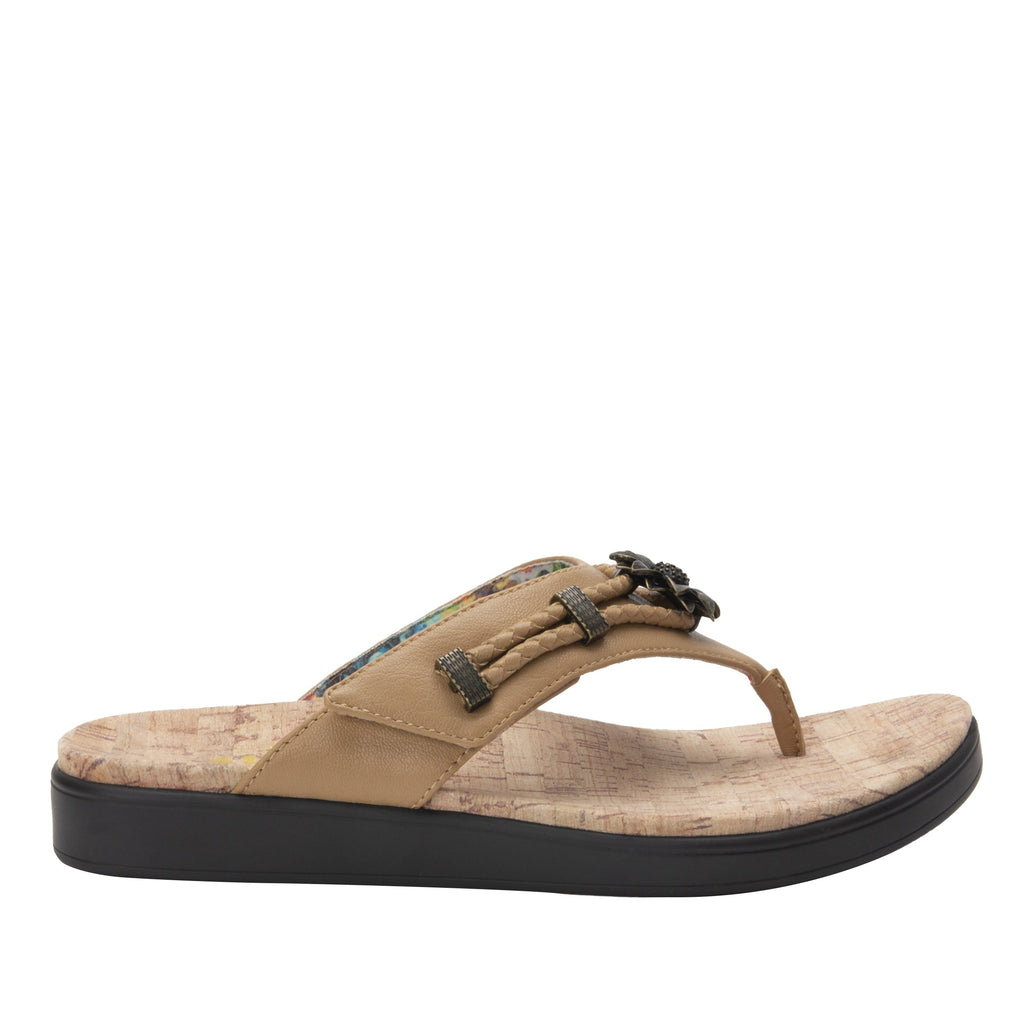 Layah Tan Comfort Flat thong sandal with adjustable hook and loop closure and featherweight slip-resistance - LAY-462_S2
