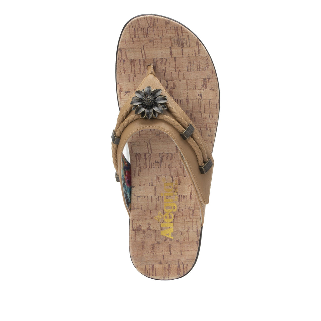 Layah Tan Comfort Flat thong sandal with adjustable hook and loop closure and featherweight slip-resistance - LAY-462_S4
