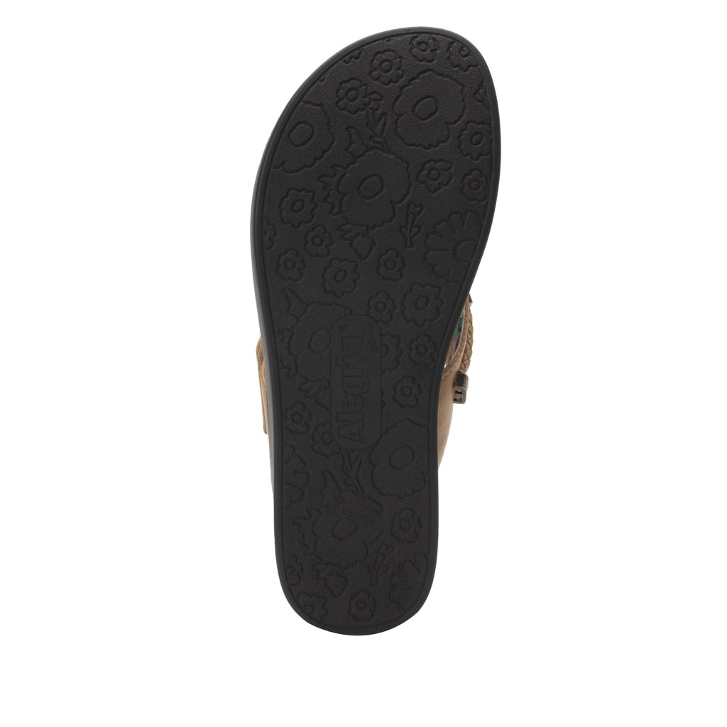 Layah Tan Comfort Flat thong sandal with adjustable hook and loop closure and featherweight slip-resistance - LAY-462_S5