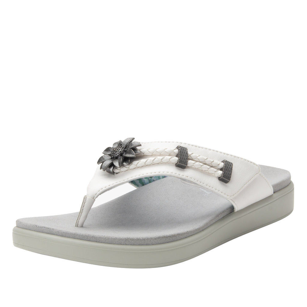 Layah White Comfort Flat thong sandal with adjustable hook and loop closure and featherweight slip-resistance - LAY-600_S1