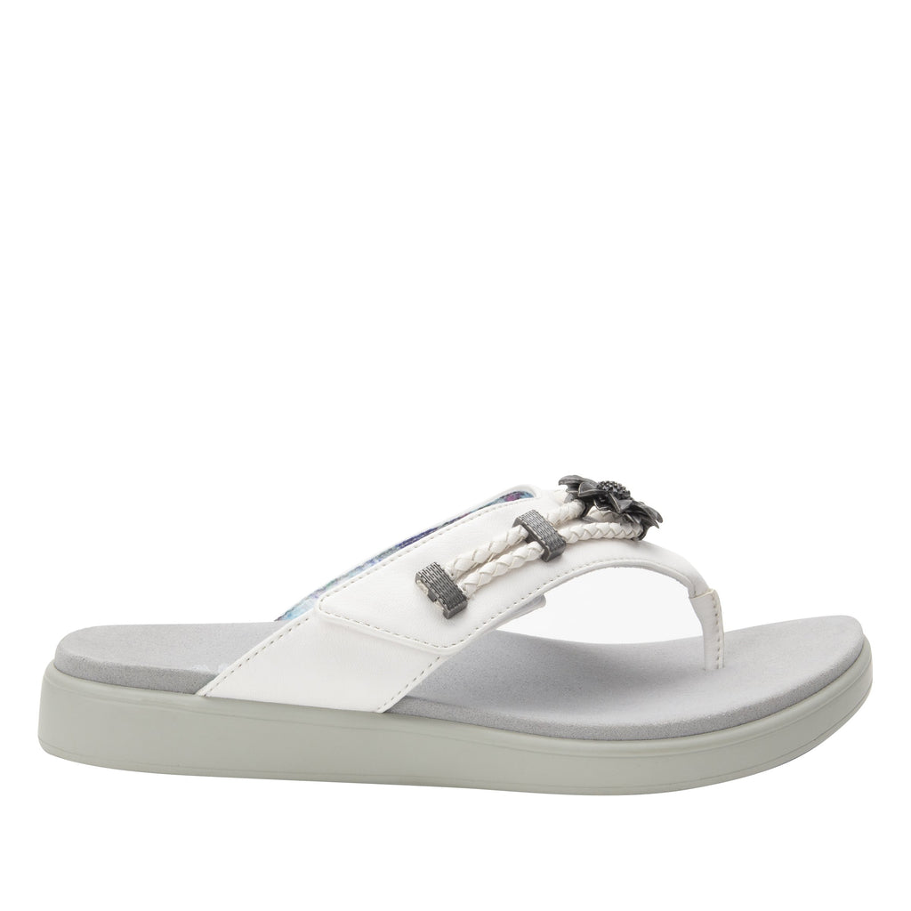 Layah White Comfort Flat thong sandal with adjustable hook and loop closure and featherweight slip-resistance - LAY-600_S2