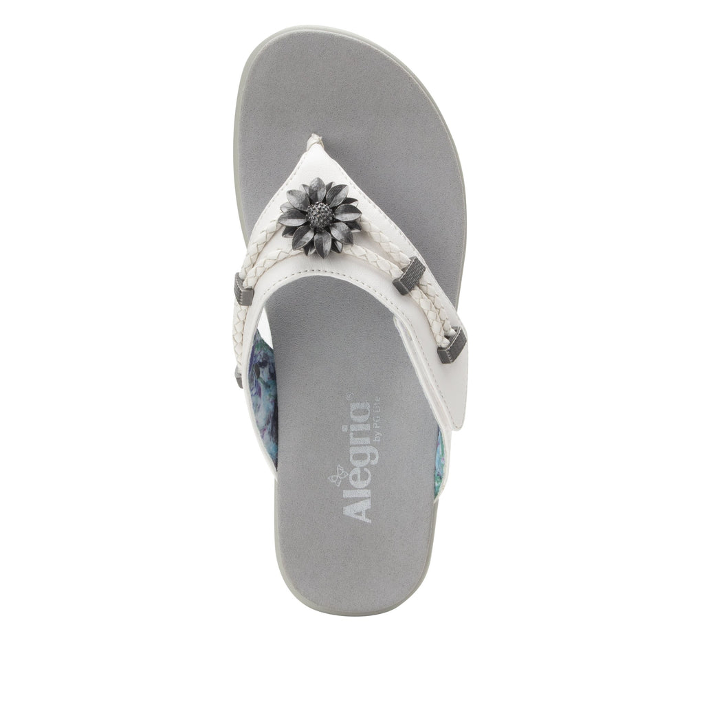 Layah White Comfort Flat thong sandal with adjustable hook and loop closure and featherweight slip-resistance - LAY-600_S4