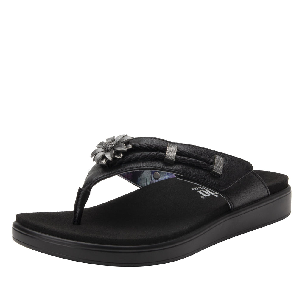 Layah Black Comfort Flat thong sandal with adjustable hook and loop closure and featherweight slip-resistance - LAY-601_S1
