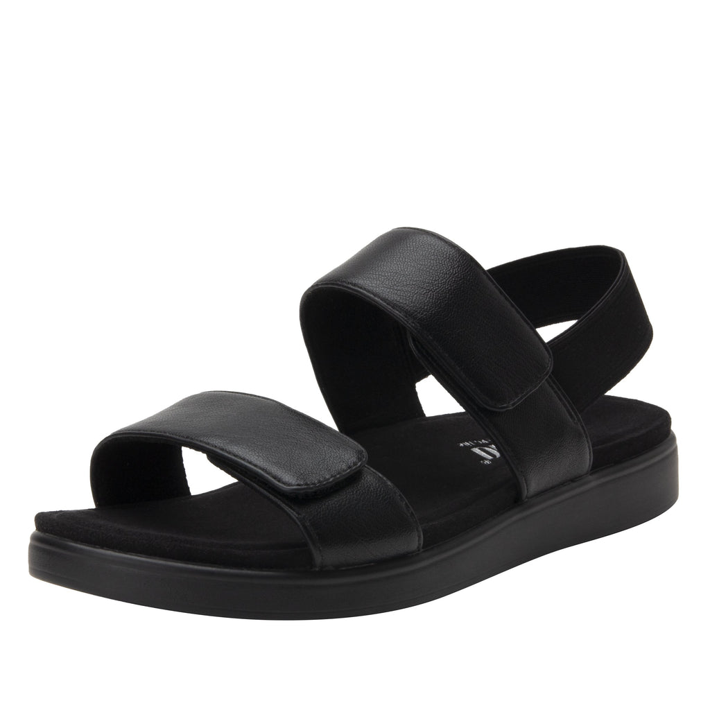 Leah Black Comfort Flat sandal with two adjustable hook and loop closures and featherweight slip-resistance - LEA-601_S1