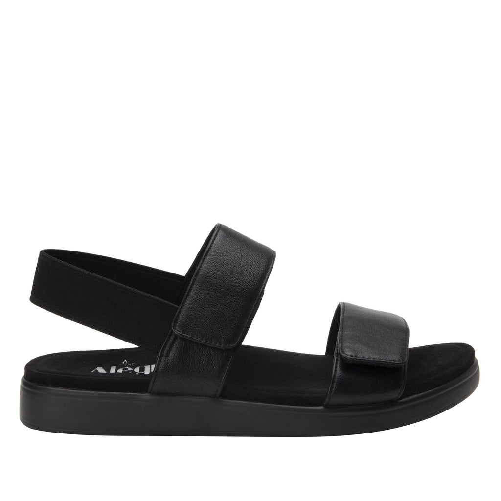 Leah Black Comfort Flat sandal with two adjustable hook and loop closures and featherweight slip-resistance - LEA-601_S2
