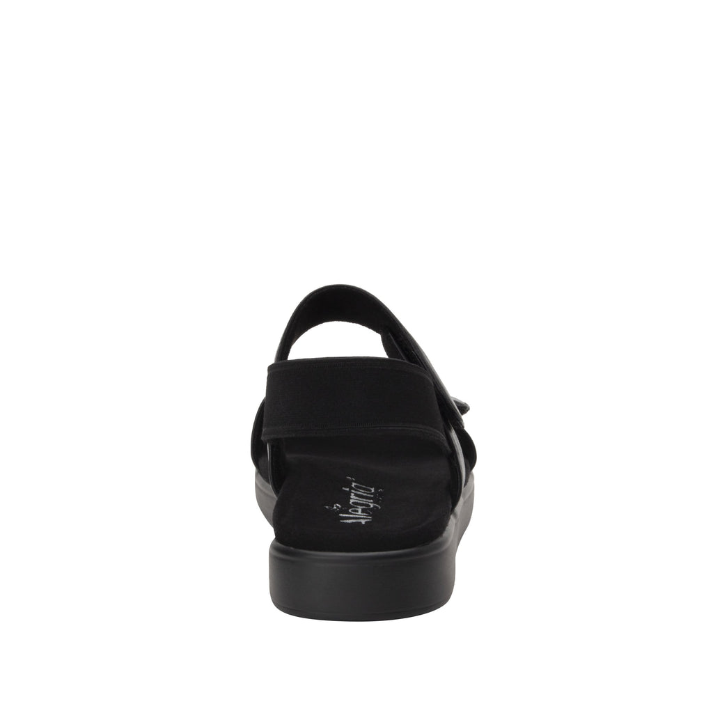 Leah Black Comfort Flat sandal with two adjustable hook and loop closures and featherweight slip-resistance - LEA-601_S3