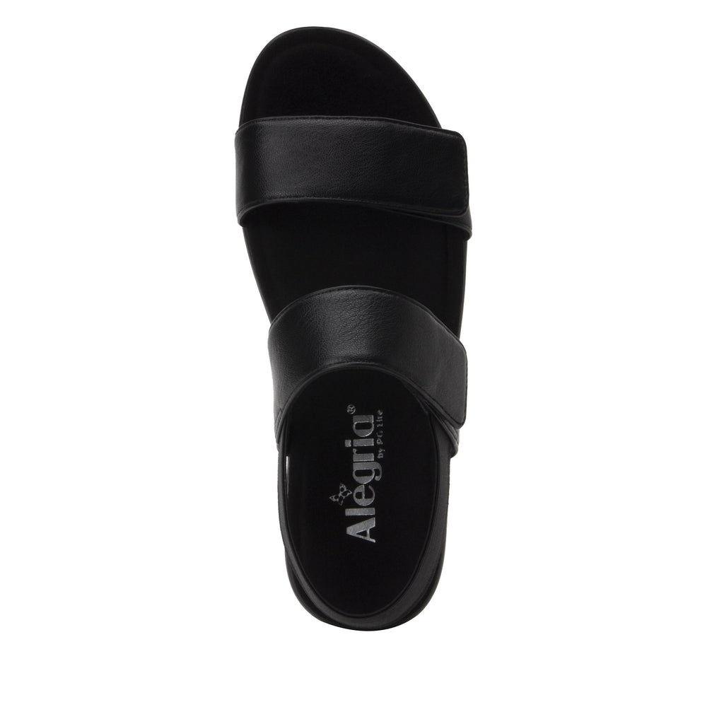 Leah Black Comfort Flat sandal with two adjustable hook and loop closures and featherweight slip-resistance - LEA-601_S4