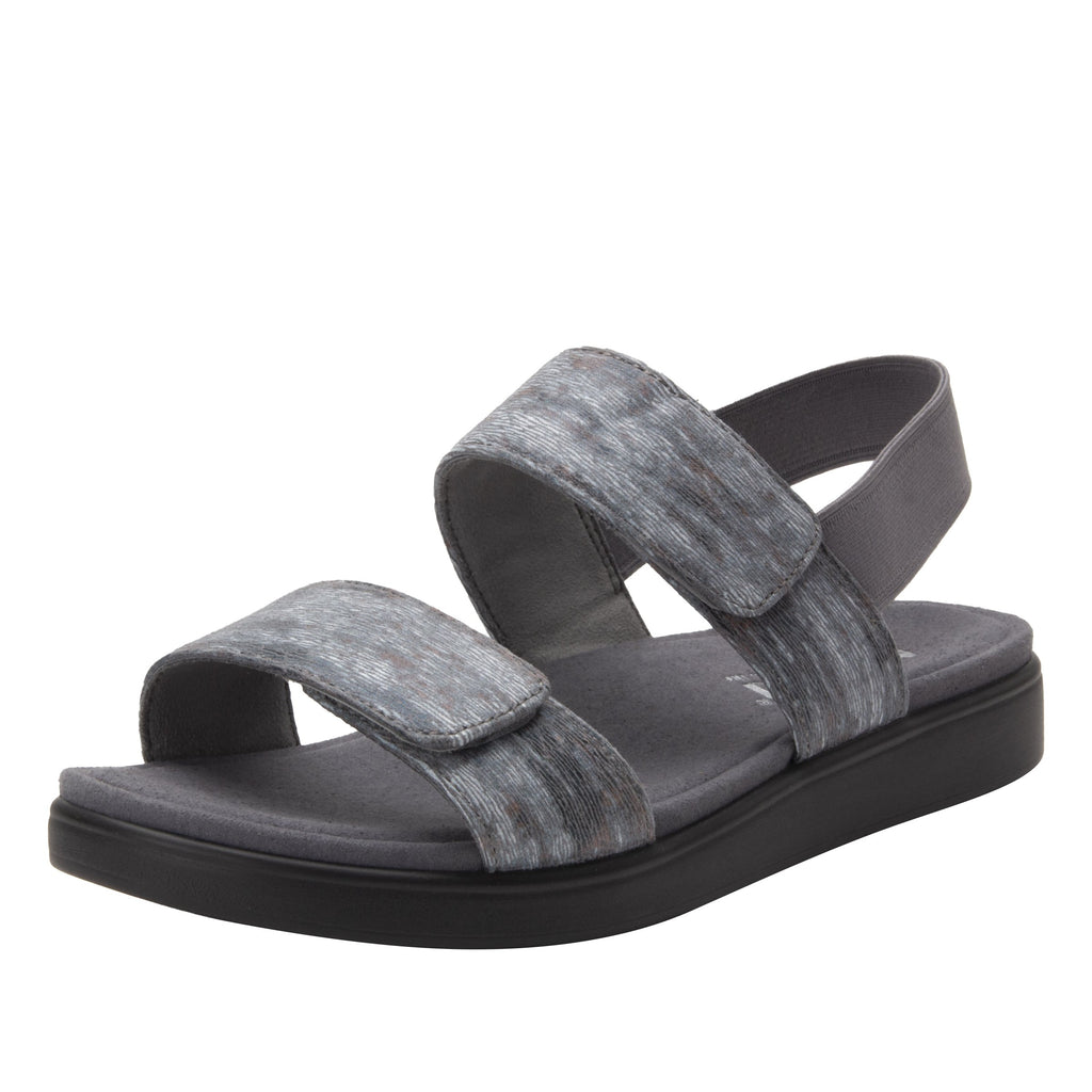 Leah Smoke Comfort Flat sandal with two adjustable hook and loop closures and featherweight slip-resistance - LEA-7763_S1