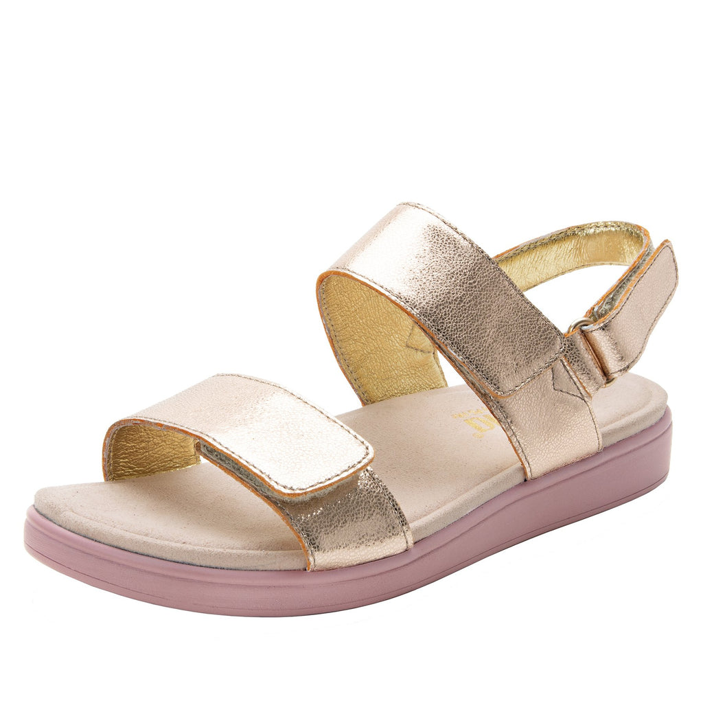 Lunah Rose Gold Comfort Flat sandal with three adjustable hook and loop closures and featherweight slip-resistance - LUN-106_S1