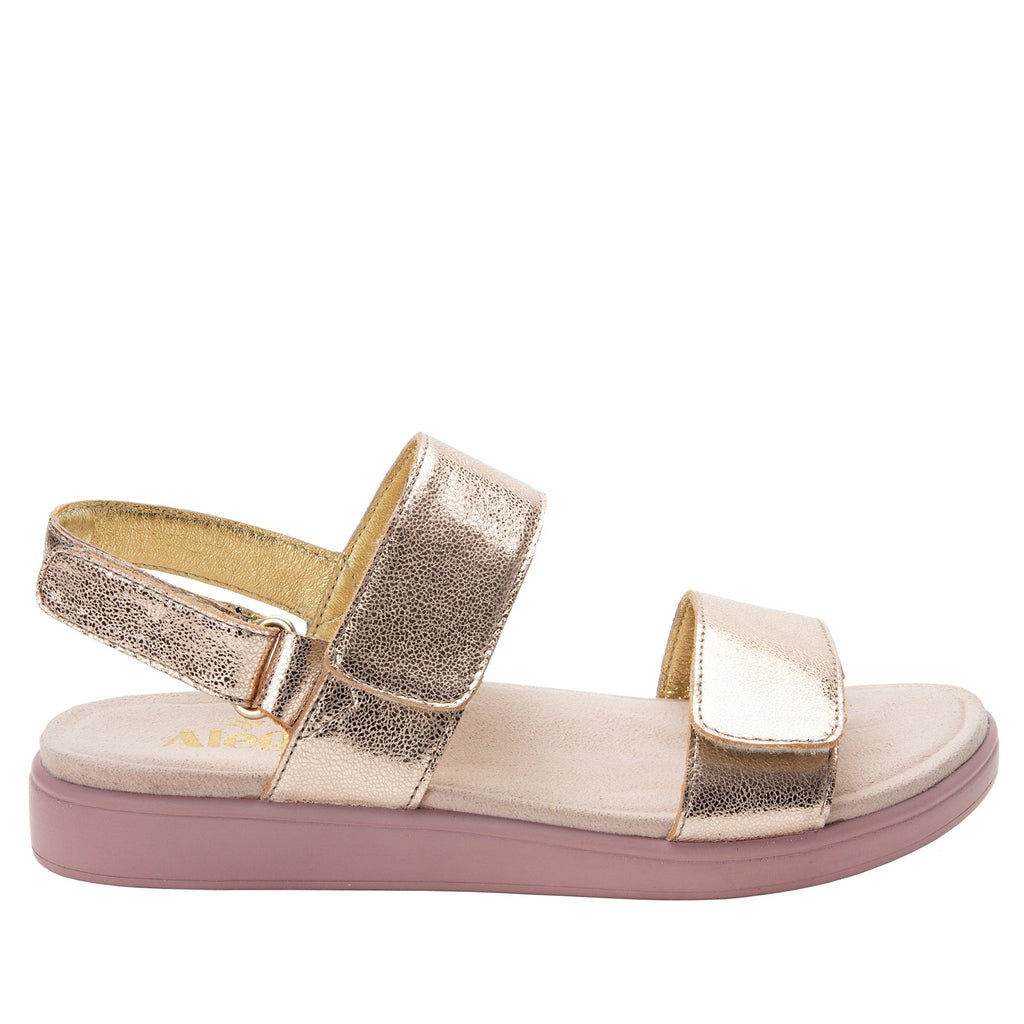 Lunah Rose Gold Comfort Flat sandal with three adjustable hook and loop closures and featherweight slip-resistance - LUN-106_S2