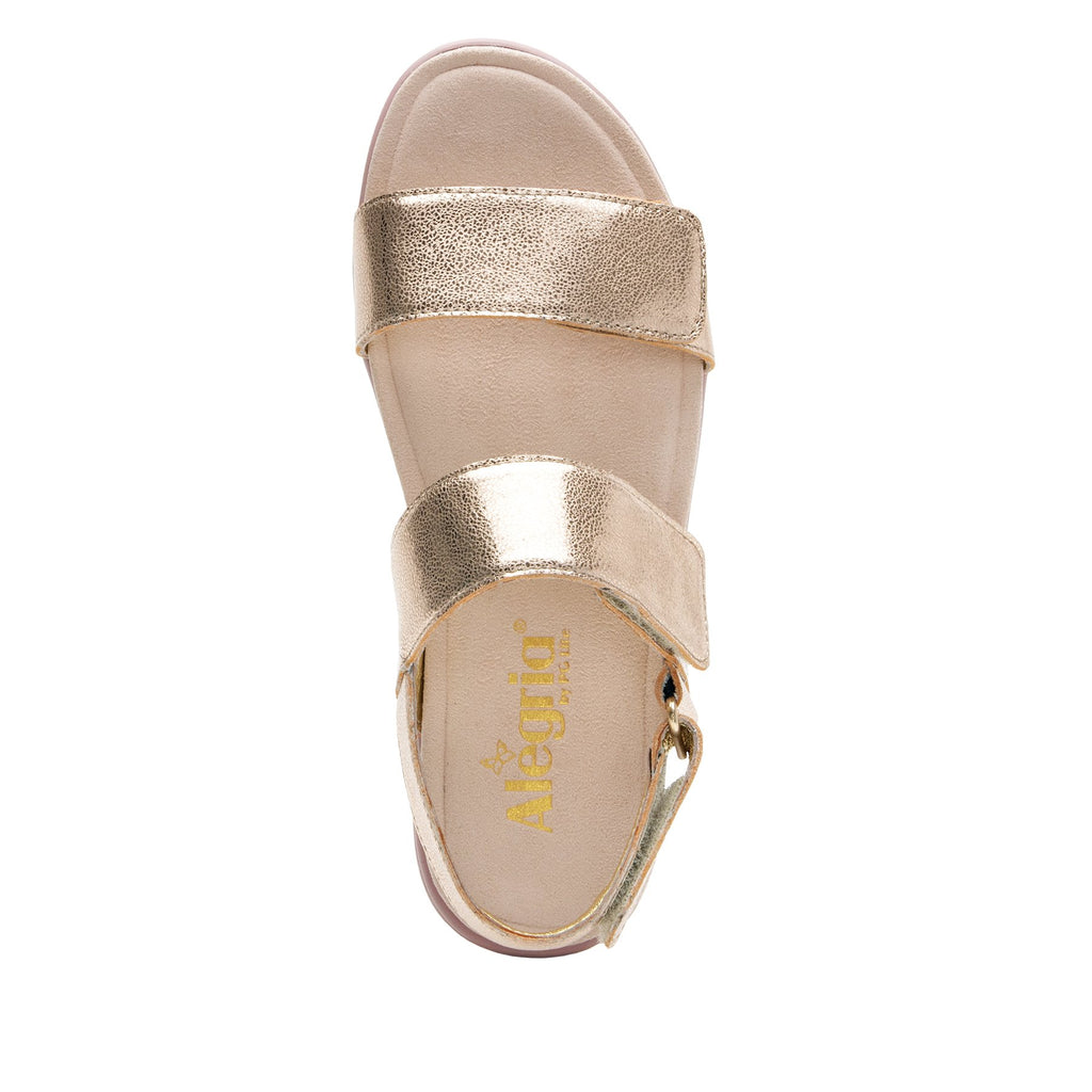 Lunah Rose Gold Comfort Flat sandal with three adjustable hook and loop closures and featherweight slip-resistance - LUN-106_S4
