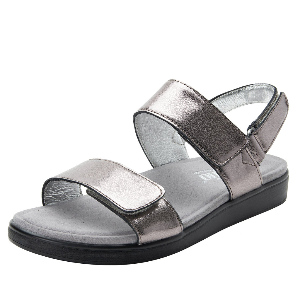 Lunah Pewter Comfort Flat sandal with three adjustable hook and loop closures and featherweight slip-resistance - LUN-126_S1