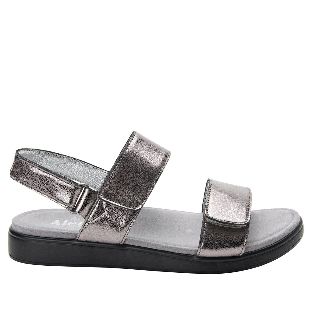 Lunah Pewter Comfort Flat sandal with three adjustable hook and loop closures and featherweight slip-resistance - LUN-126_S2