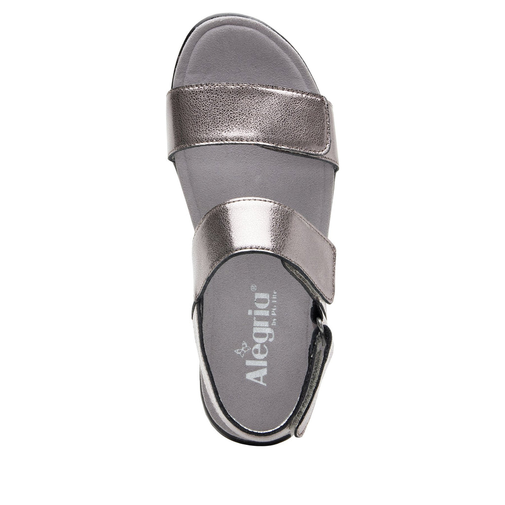 Lunah Pewter Comfort Flat sandal with three adjustable hook and loop closures and featherweight slip-resistance - LUN-126_S4