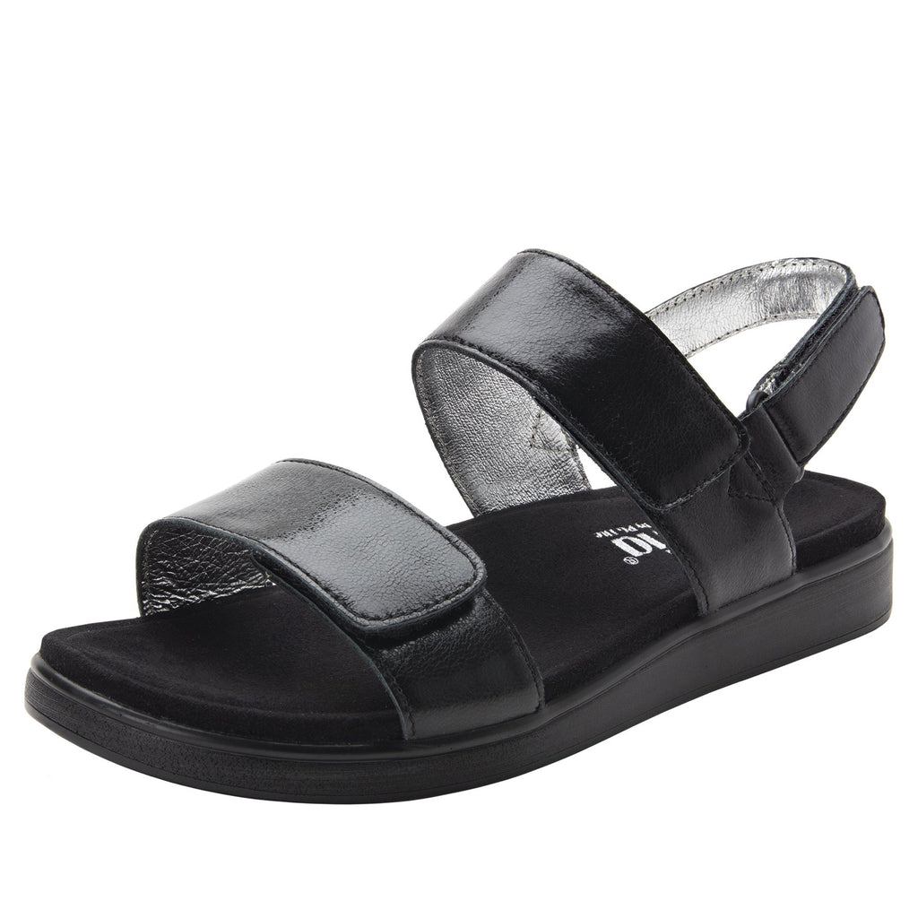 Lunah Black Comfort Flat sandal with three adjustable hook and loop closures and featherweight slip-resistance - LUN-601_S1