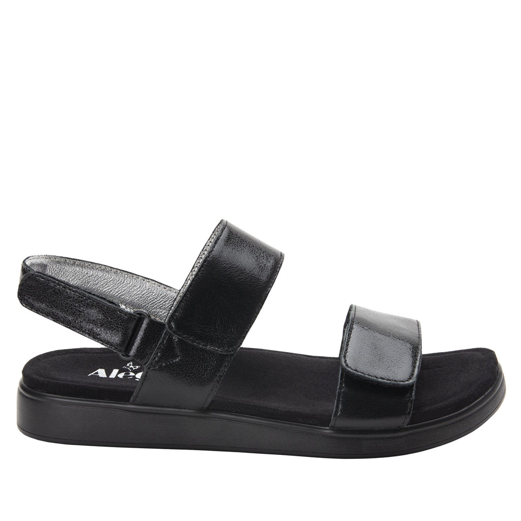 Lunah Black Comfort Flat sandal with three adjustable hook and loop closures and featherweight slip-resistance - LUN-601_S2