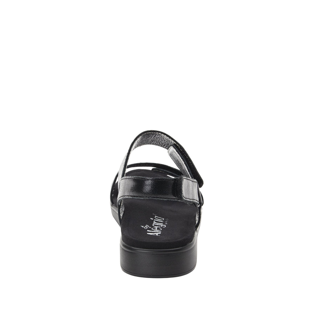 Lunah Black Comfort Flat sandal with three adjustable hook and loop closures and featherweight slip-resistance - LUN-601_S3