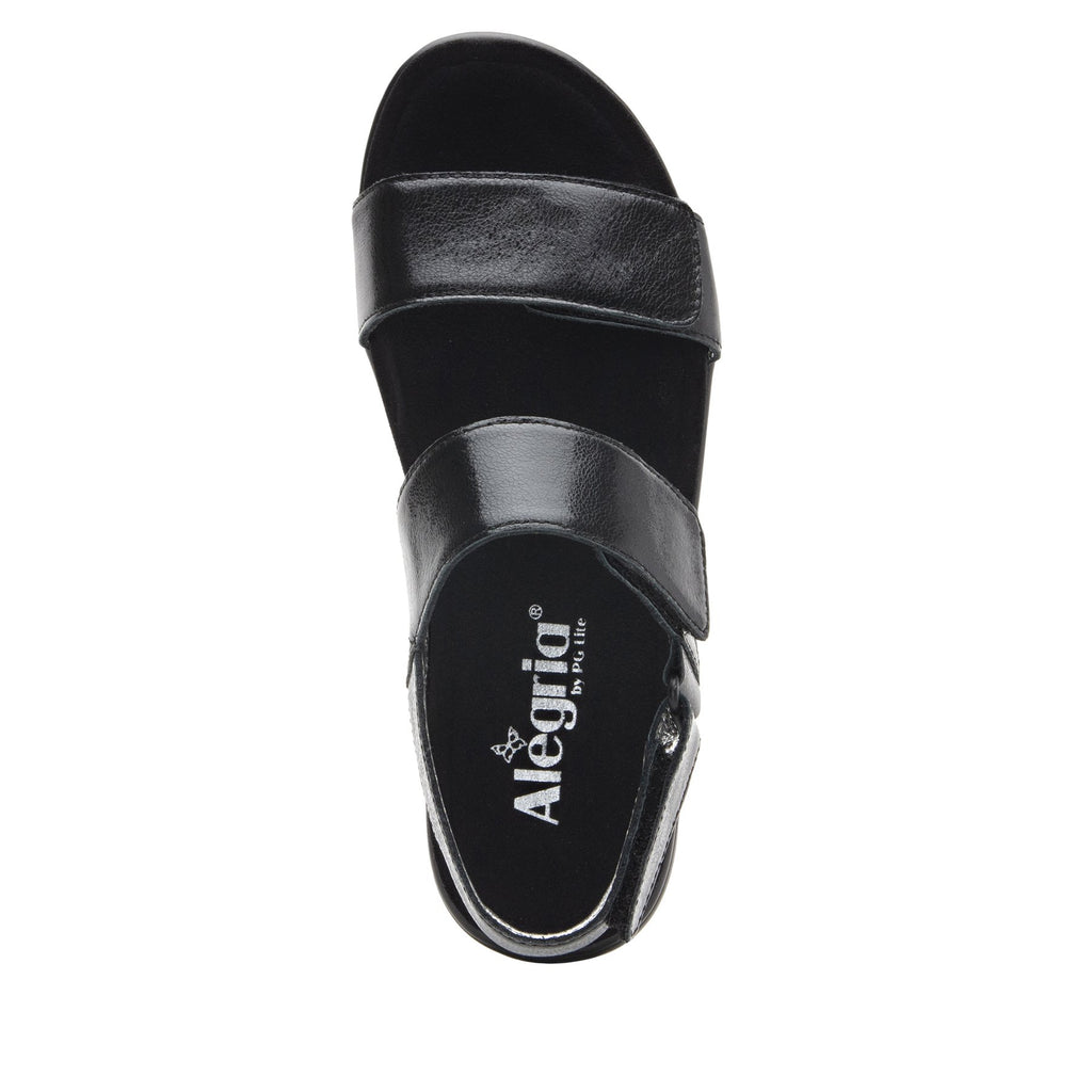 Lunah Black Comfort Flat sandal with three adjustable hook and loop closures and featherweight slip-resistance - LUN-601_S4