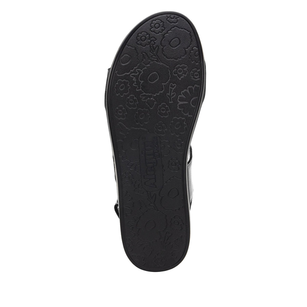 Lunah Black Comfort Flat sandal with three adjustable hook and loop closures and featherweight slip-resistance - LUN-601_S6