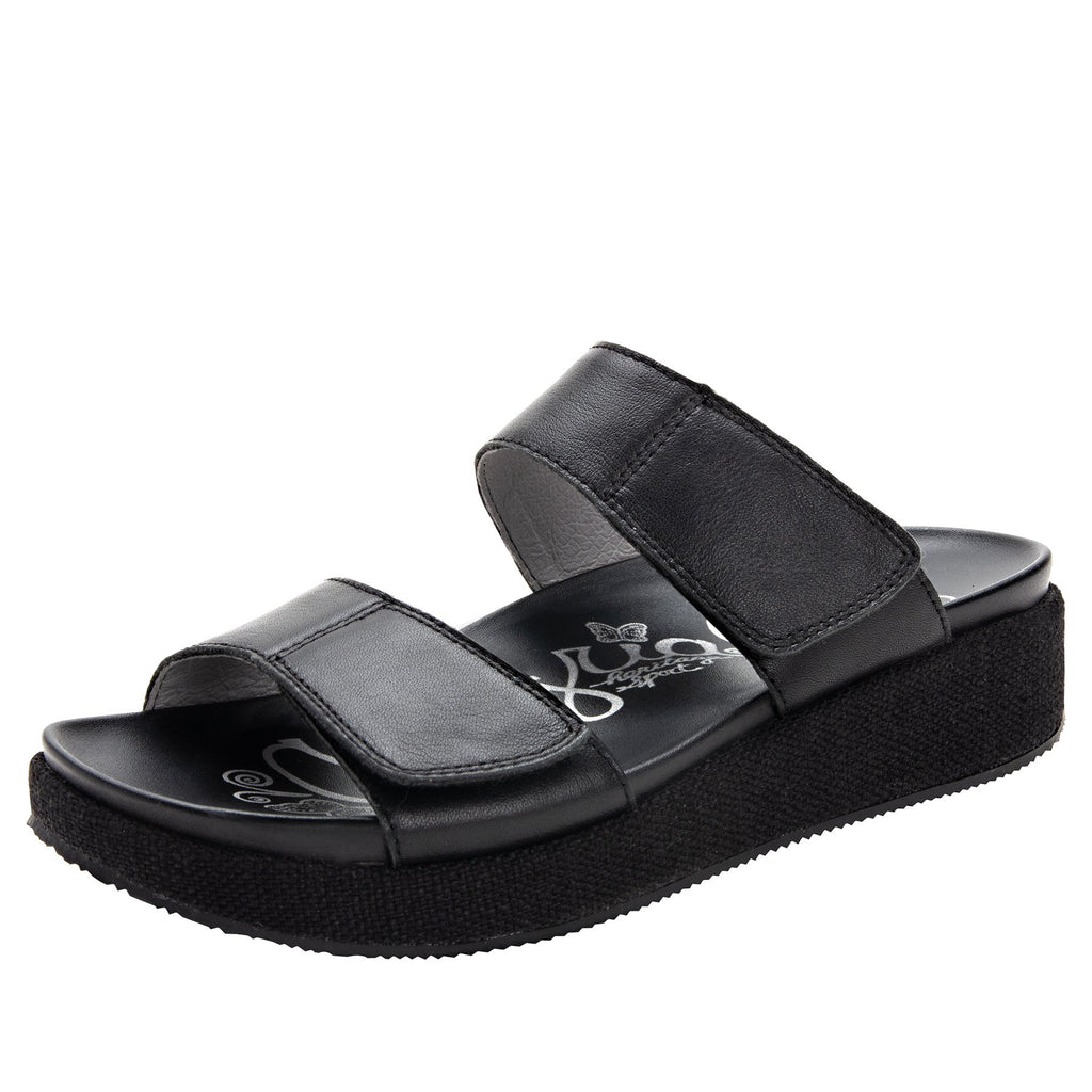 Maisie Tahiti Black Slide sandal with fabric wrapped Heritage Platform outsole and leather wrapped footbed - MAI-121_S1