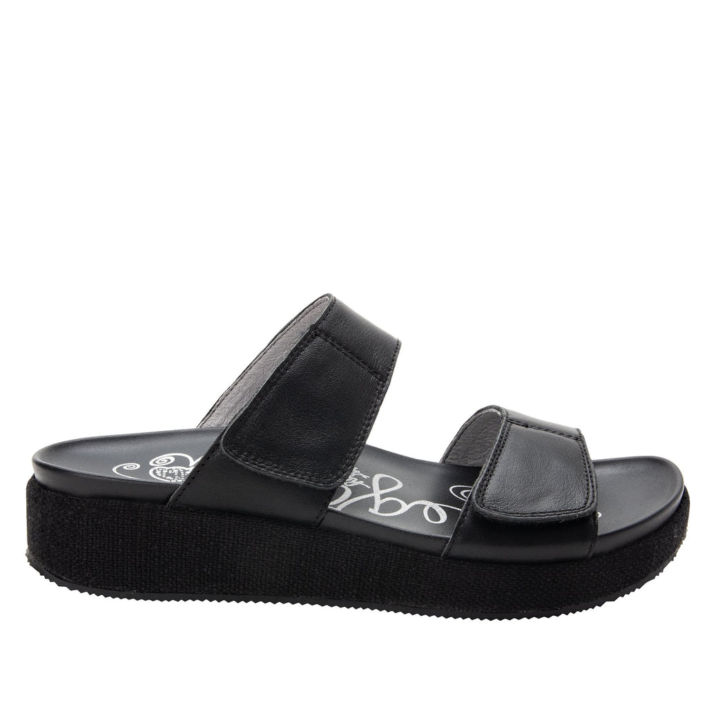 Maisie Tahiti Black Slide sandal with fabric wrapped Heritage Platform outsole and leather wrapped footbed - MAI-121_S2