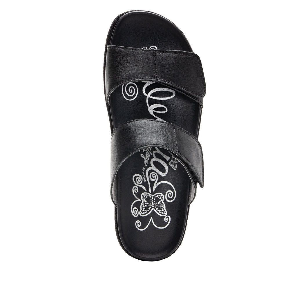 Maisie Tahiti Black Slide sandal with fabric wrapped Heritage Platform outsole and leather wrapped footbed - MAI-121_S4