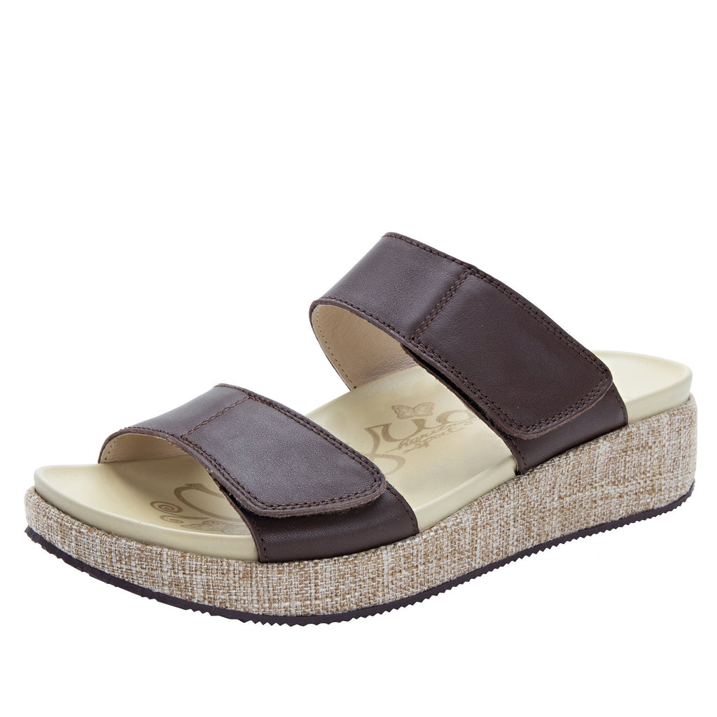 Maisie Tahiti Cocoa Slide sandal with fabric wrapped Heritage Platform outsole and leather wrapped footbed - MAI-122_S1
