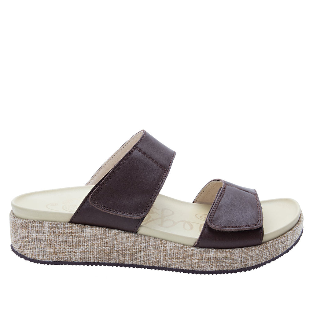Maisie Tahiti Cocoa Slide sandal with fabric wrapped Heritage Platform outsole and leather wrapped footbed - MAI-122_S2