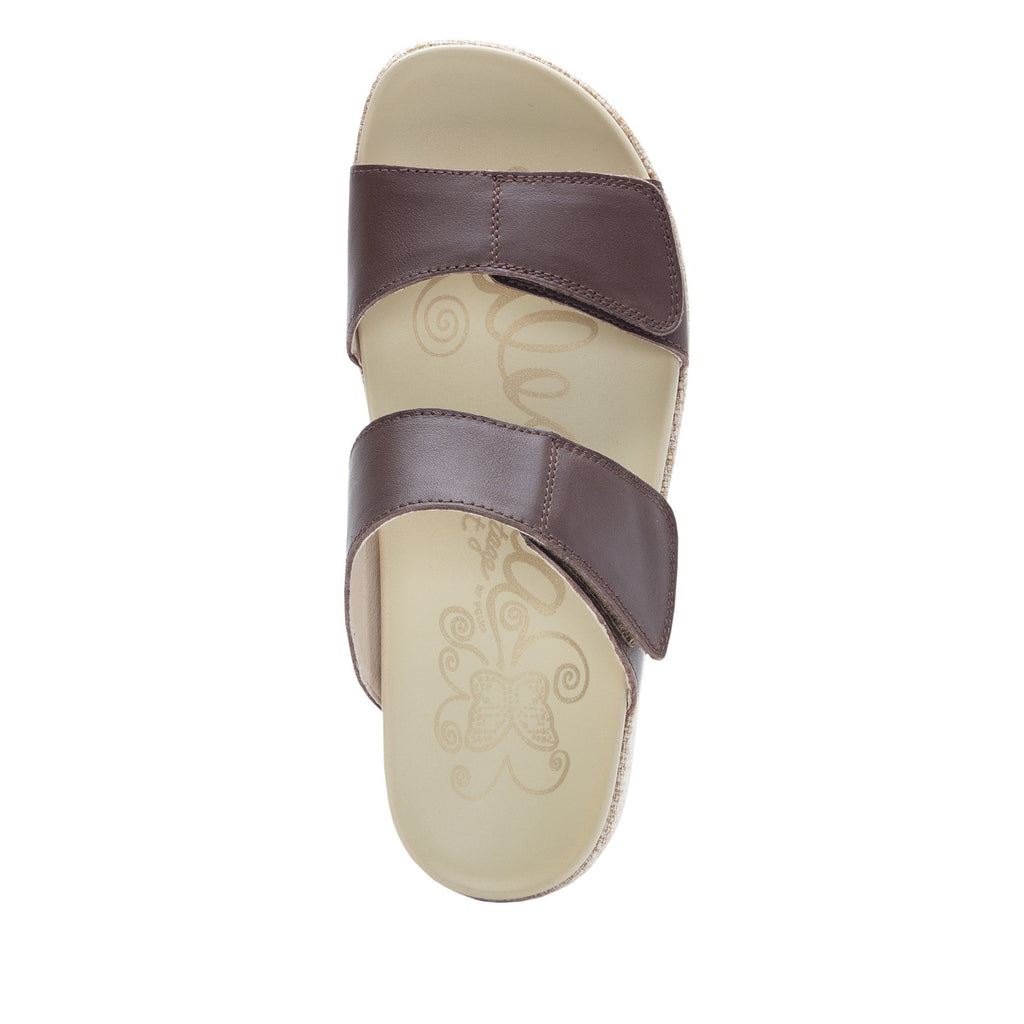 Maisie Tahiti Cocoa Slide sandal with fabric wrapped Heritage Platform outsole and leather wrapped footbed - MAI-122_S4