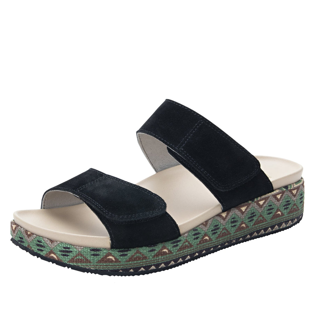 Maisie Peru Dreams Slide sandal with fabric wrapped Heritage Platform outsole and leather wrapped footbed - MAI-141_S1
