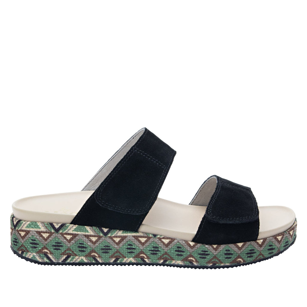 Maisie Peru Dreams Slide sandal with fabric wrapped Heritage Platform outsole and leather wrapped footbed - MAI-141_S2