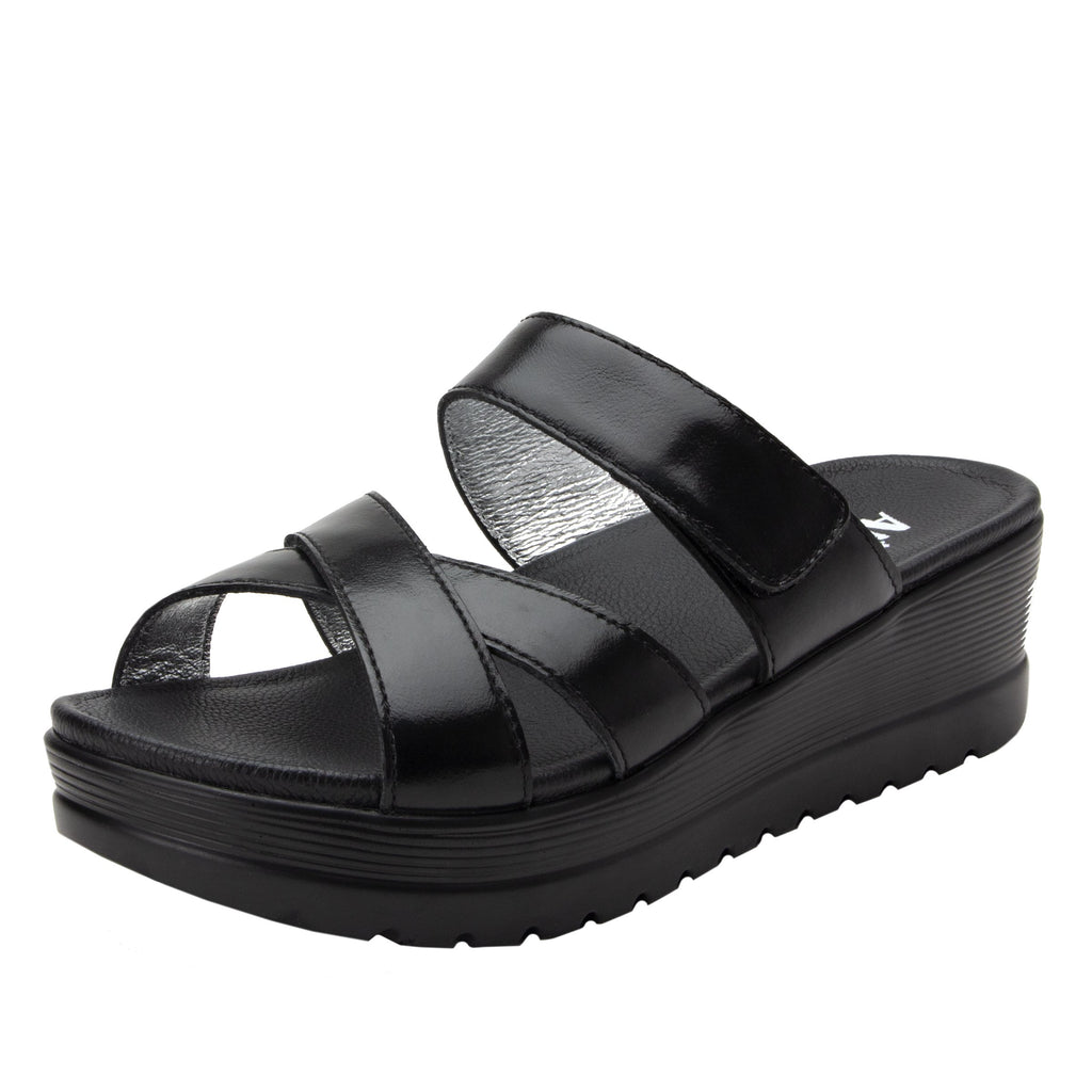Mira Black flatform wedge slide sandal, with criss cross straps and hook and loop strap for adjustable comfort  - MIR-101_S1